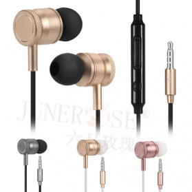 Junerose Earphone with Microphone and Volume Control - T55 - Rose/White - 2