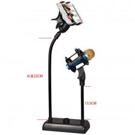 Flexible Stand Mikrofon dan Lazypod Smartphone Holder - DM-722A - Black