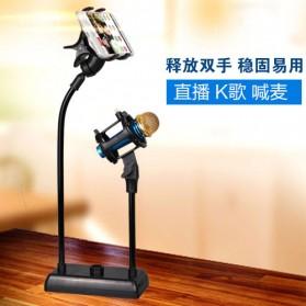 SODIAL Flexible Stand Mikrofon dan Lazypod Smartphone Holder - DM-722A - Black - 4