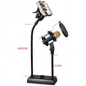 SnapVox Flexible Stand Mikrofon dan Lazypod Smartphone Holder with Pop Filter - DM-722 - Black