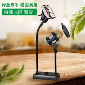 SnapVox Flexible Stand Mikrofon dan Lazypod Smartphone Holder with Pop Filter - DM-722 - Black - 2