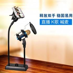 SnapVox Flexible Stand Mikrofon dan Lazypod Smartphone Holder with Pop Filter - DM-722 - Black - 3