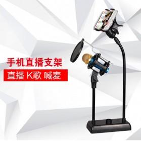 SnapVox Flexible Stand Mikrofon dan Lazypod Smartphone Holder with Pop Filter - DM-722 - Black - 4