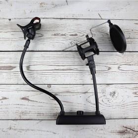 SnapVox Flexible Stand Mikrofon dan Lazypod Smartphone Holder with Pop Filter - DM-722 - Black - 5