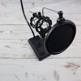 SnapVox Flexible Stand Mikrofon dan Lazypod Smartphone Holder with Pop Filter - DM-722 - Black - 6