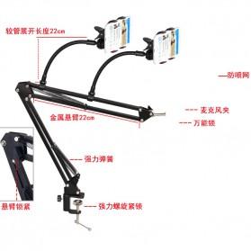 Microphone Suspension Boom Scissor Arm with 2 x Smartphone Lazypod - Black - 3