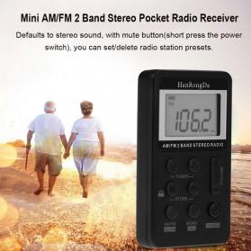 HanRongDa Portable FM AM Radio Player - HRD-103 - Black - 3