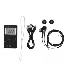 HanRongDa Portable FM AM Radio Player - HRD-103 - Black - 6