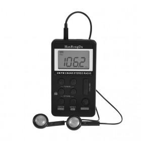 HanRongDa Portable FM AM Radio Player - HRD-103 - Black - 7