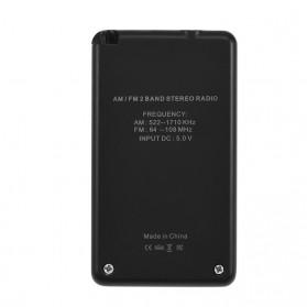 HanRongDa Portable FM AM Radio Player - HRD-103 - Black - 10