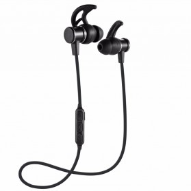 Bluetooth Earphone Sporty Magnetic dengan Microphone - SLS-100 - Black
