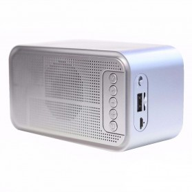 Bluetooth Speaker Alarm Clock FM Radio - S-61 - Silver