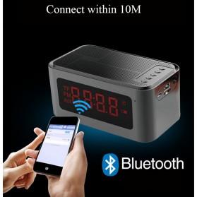 Bluetooth Speaker Alarm Clock FM Radio - S-61 - Black - 4