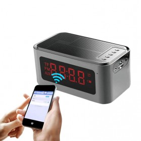Bluetooth Speaker Alarm Clock FM Radio - S-61 - Gray