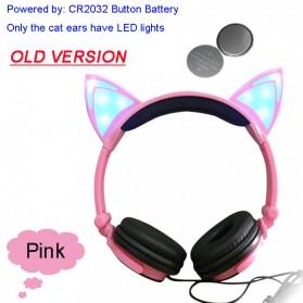 Cat Ear Headphone Lucu dengan LED - Pink