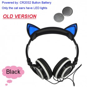 Cat Ear Headphone Lucu dengan LED - Black