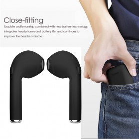 Mini Earphone Airpods Bluetooth 4.2 with Charging Case - i7S TWS - Black - 3