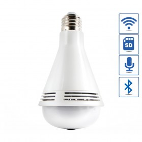 Bohlam LED RGB E27 dengan Bluetooth Speaker & CCTV IP Camera 960P - White