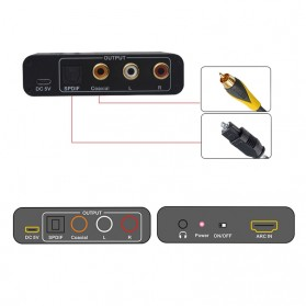Audio Konverter HDMI Arc ke SPDIF Coaxial RCA 3.5mm AUX - Black - 6