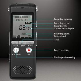 Perekam Suara HD Microphone Digital Voice Recorder 8GB - N131 - Black - 6
