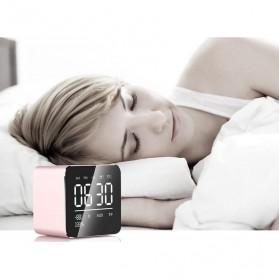Jam Alarm Mini Clock with Bluetooth Speaker TF Card - V9 - Gray - 4