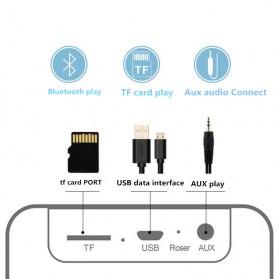 Jam Alarm Mini Clock with Bluetooth Speaker TF Card - V9 - Gray - 7