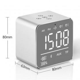 Jam Alarm Mini Clock with Bluetooth Speaker TF Card - V9 - Gray - 8