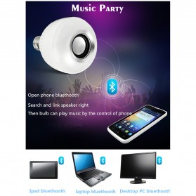 Bohlam LED RGB E27 12W with Bluetooth Speaker - YNL - White - 7