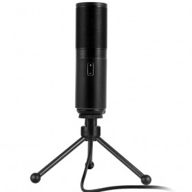 Studio Condenser Microphone USB with Stand - Q9 - Black