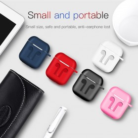Silicone Case for AirPods 1 & 2 Charging Dock with Carabiner - P35 - Black - 5