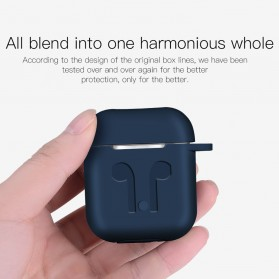 Silicone Case for AirPods 1 & 2 Charging Dock with Carabiner - P35 - Black - 6