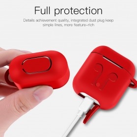 Silicone Case for AirPods 1 & 2 Charging Dock with Carabiner - P35 - Black - 8