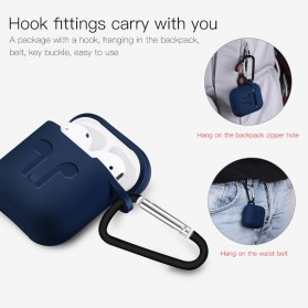 Silicone Case for AirPods 1 & 2 Charging Dock with Carabiner - P35 - Black - 9