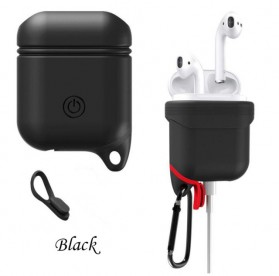 Silicone Case Waterproof for AirPods 1 & 2 Charging Dock - DZPJ-M190 - Black