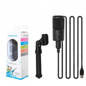 Portable Microphone USB with Stand - SF-960B - Black - 6