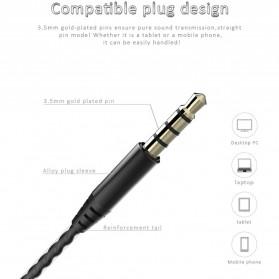 Earphone Bass Subwoofer Dual Moving Coil dengan Mic - D6 - Black - 6