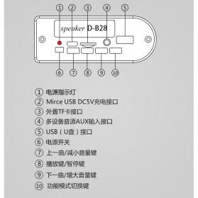 Barrel Wireless Bluetooth Speaker FM Radio - D-B28 - Red - 8