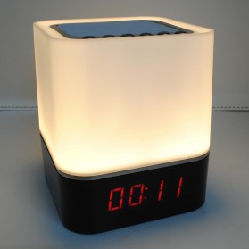 Jam Alarm Mini Clock Bluetooth Speaker dengan Lampu Tidur Colorful - XGS001 - White - 1