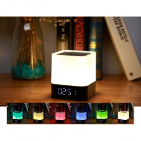 Jam Alarm Mini Clock Bluetooth Speaker dengan Lampu Tidur Colorful - XGS001 - White - 5
