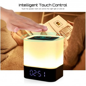 Jam Alarm Mini Clock Bluetooth Speaker dengan Lampu Tidur Colorful - XGS001 - White - 9