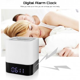 Jam Alarm Mini Clock Bluetooth Speaker dengan Lampu Tidur Colorful - XGS001 - White - 10