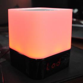 Jam Alarm Mini Clock Bluetooth Speaker dengan Lampu Tidur Colorful - XGS001 - White - 11