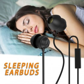 Sleeping Earphone Anti Noise Ultra-soft Silicone Earbuds with Mic - X110 - Black