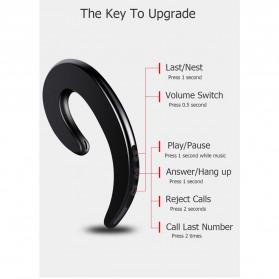 Wireless Auricular Headset Bluetooth V4.1 dengan Mic - Y-12 - Black - 3