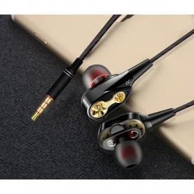 Earphone Heavy Bass Dual Moving Coil dengan Mic - D2 - Black