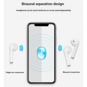 OAICIA Mini Earphone Airpods TWS Bluetooth 5.0 with Charging Case - i7S - White - 6