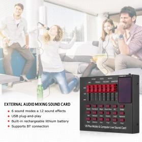 TaffSTUDIO Bluetooth Audio USB External Soundcard Live Broadcast Microphone Headset - V8 Plus - Black/Black - 4