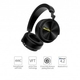 Bluedio Turbine Wireless Bluetooth Headphone - T5 - Black - 2