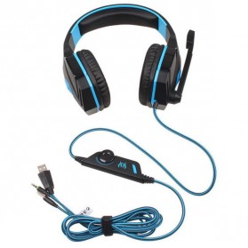 Kotion Each G4000 Gaming Headset Surround Headband with LED Light (bakcup) - Black/Blue - 2