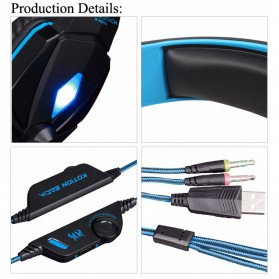 Kotion Each G4000 Gaming Headset Surround Headband with LED Light - Black/Blue - 8